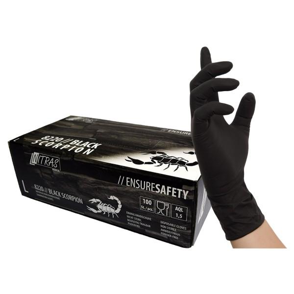 NITRAS BLACK SCORPION, Latex-Handschuhe, schwarz