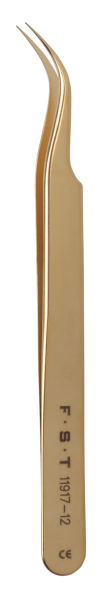 FST Pinzette Vergoldet - Edelstahl gebogen 12cm