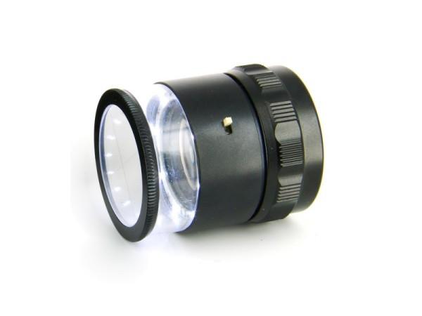 Ideal-tek Lupe - 10X, 8 weiße LED, mit mm Skala